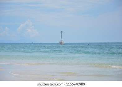 Scenery background of the beach with blue sea and clear sky at Lipe beach in the area of Lipe island Thailand