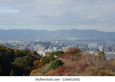 Scenery background of the city viewing with Kyoto tower from Kiyomizu-dera Kyoto Japan