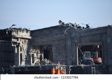 Scenery background of the deconstruct zone with ruin building