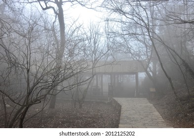 Scenery background of the natural view with cloudy fog and construction in the area of ZhangJiajie