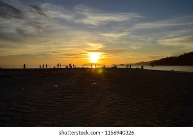 Scenery background of the sunset at the Lipe beach in the area of Lipe island of Thailand
