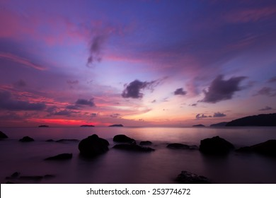 Scenery of beach during twilight with magenta color
