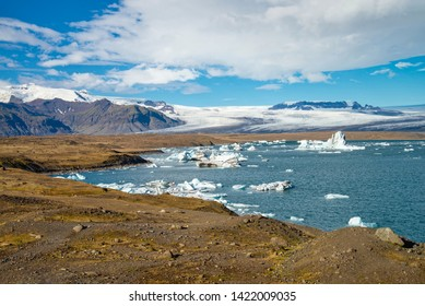 The scenery of beautiful blue sky and Glacier. There are many glaciers floating in the lagoon and flowing to the Arctic ocean at Jokulsarlon Glacier Lagoon Iceland