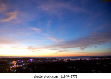 The scenery beautiful city light and sky twilight after sunset
