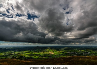 Scenery of beautiful landscape of Ireland from top of Slieve Gullion Forest Park