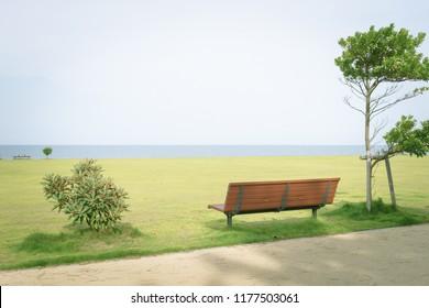 Scenery with bench / Ishizu Coast Park