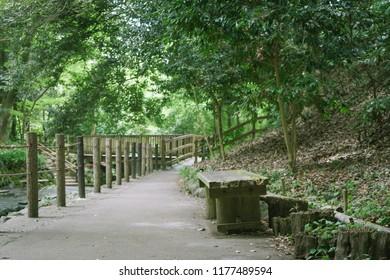 Scenery with bench / Kakitagawa park
