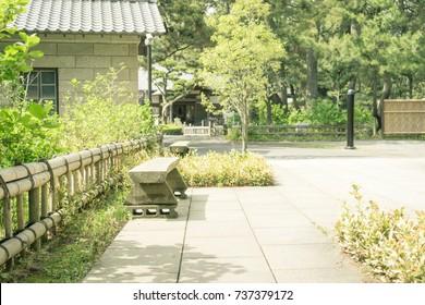 Scenery with bench / Numazu Imperial Villa Memorial Park