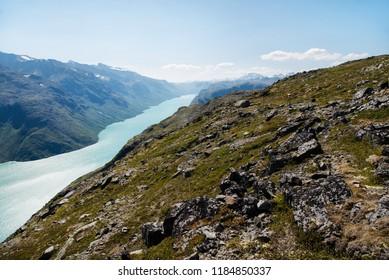scenery Besseggen ridge over Gjende lake in Jotunheimen National Park, Norway