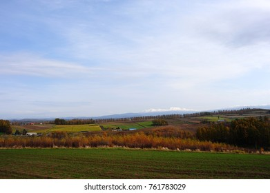 scenery between Autumn and Winter in Biei, Hokkaido, Japan