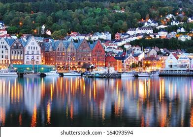 Scenery of Bryggen in Bergen. UNESCO World Heritage Site, Bryggen (Bergen) Norway.