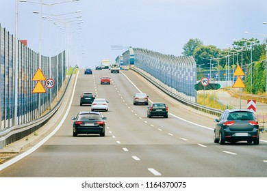 Scenery with car on the highway of Poland