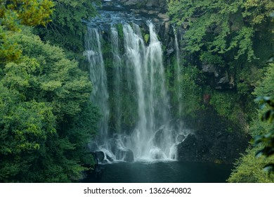 "It is the scenery of ""Cheonjeyeon waterfall"" which is a waterfall in Jeju."