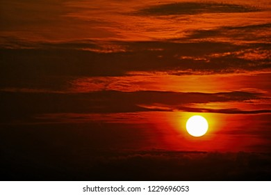scenery cloud scape with breathtaking of sunlight when sun setting in cloudy sky over horizon in close up and minimal style so beautiful outdoor pattern for abstract nature background