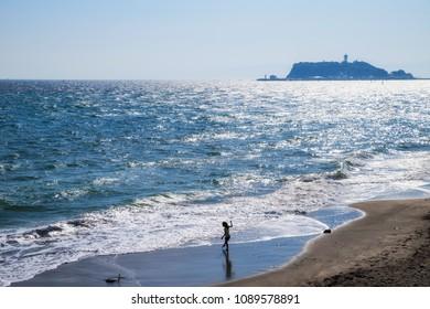 "Scenery of the coast of ""Shichirigahama"". A landscape with long sandy beaches is beautiful, and many tourists visit. Kamakura city, Kanagawa, Japan."