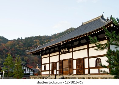 """The scenery of the colored leaves around Tenryuji Temple. The Chinese character inside the frame at the center of the temple means """"Senbutsujo"""". That place is where the priest plans Zazen."""