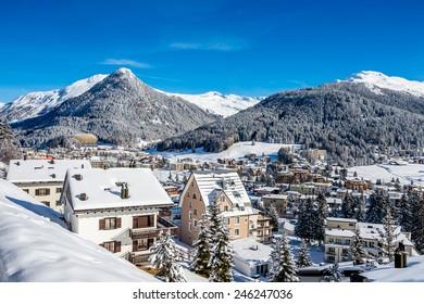 Scenery of Davos, Switzerland on sunny winter day.