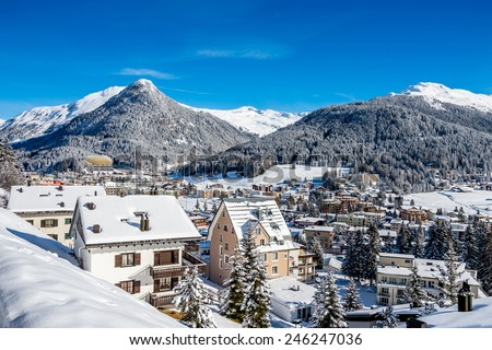 Scenery of Davos, Switzerland on sunny winter day.