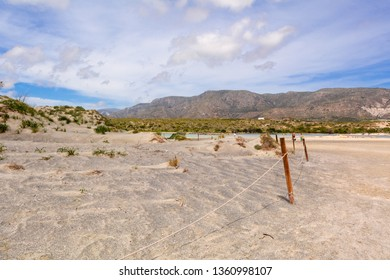 Scenery of desert at the reserve zone with sand dunes on Elafonisi beach, Crete island, Greece