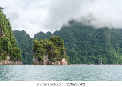 Scenery of Emerald lake, forest and mountain. Cheow Lan Dam. Khao Sok National Park. Thailand.