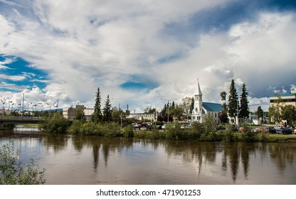 Scenery of Fairbanks city downtown over Chena river in Alaska, USA