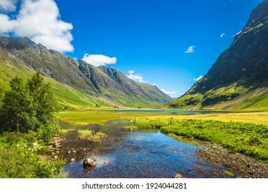 scenery of Glencoe at highland in scotland, uk