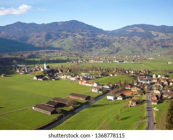 Scenery from GoldenPass Line - Town of Giswil and Church in atutumn, Canton of Obwalden, Central Switzerland, Switzerland