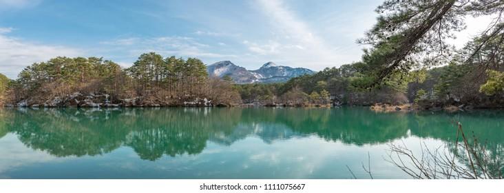 Scenery of the Goshiki pond and Mount Bandai in Fukushima Japan