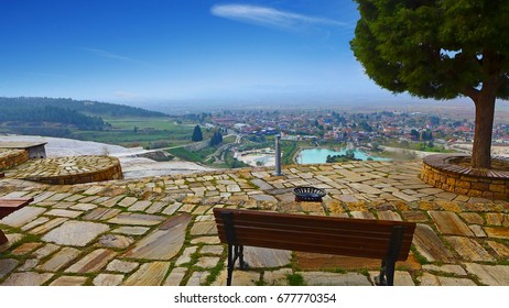 Scenery from the hill of an ancient city located near hot springs in Pamukkale in Denizli Province in southwestern Turkey. Here is a UNESCO World Heritage Site.
