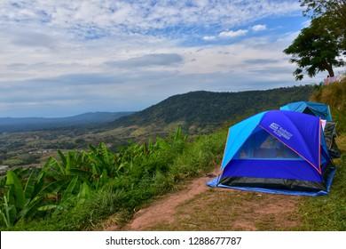 Phetchabun, Thailand - January 05, 2019: The Morning scenery including camping tents at Khaokho Mountain in Phetchabun, Thailand.