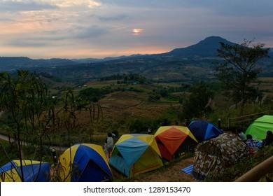 Phetchabun, Thailand - January 05, 2019: The Morning scenery including camping tents on Khao Takhian Ngo Mountain at KhaoKho in Phetchabun, Thailand.