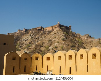 The scenery inside the Amber Fort  which is the landmark of  Jaipur city, Rajasthan State, India.