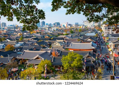 Scenery of Jeonju Hanok Village. Taken on 2018 November 3 in Jeonju city South Korea.It is popular with tourists.