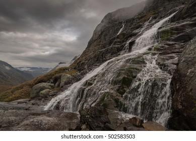 Scenery of Jotunheimen with waterfall, Norway, Scandinavia, Europe