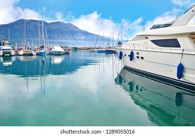 scenery of Kalamata port Messinia Peloponnese Greece