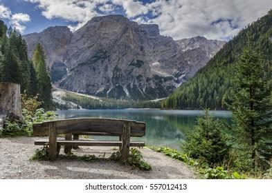 Scenery at Lago di Braies in Trentino Alto Adige