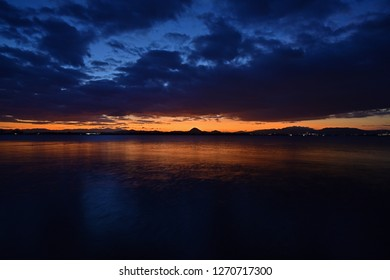 Scenery of Lake Biwa before dawn