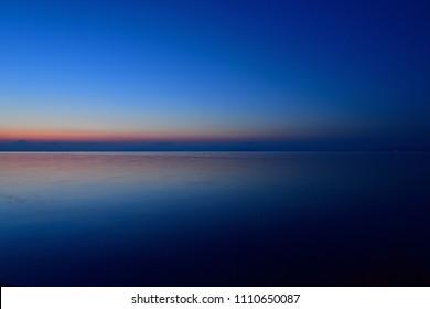 Scenery of Lake Biwa and Mt. Ibuki before dawn