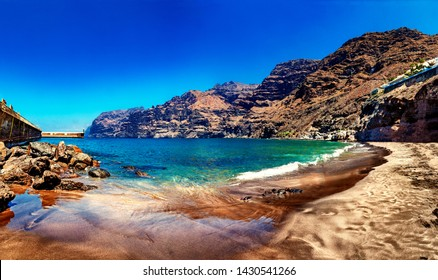 Scenery landscape in Canary island.Sea and bech.Los Gigantes Cliff, Canary Islands, Tenerife, Spain