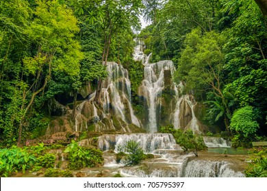The scenery landscape of Tad Sae Waterfall near Luang Prabang, Laos.