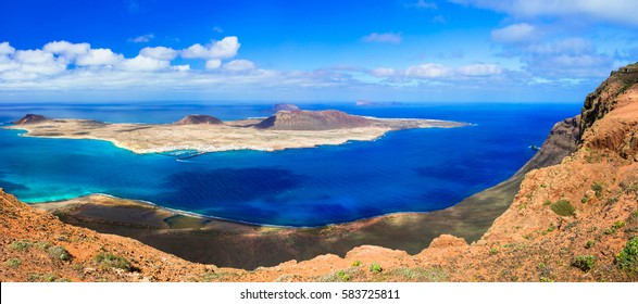 Scenery of Lanzarote - panoramic view from Mirador del Rio. Canary islands