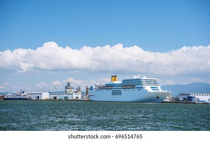 Scenery of the large passenger ship which anchor in Kanazawa port