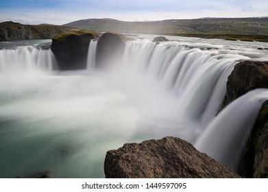 Scenery long exposure view of Godafoss waterfall (The waterfall of Gods)