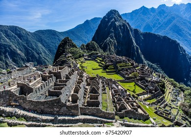 Scenery of Machu Picchu/A view of Machu Picchu overlooking from the watchhouse. It is majestic and makes us feel the flow of time.