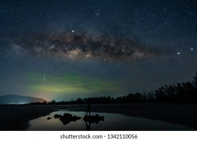 The scenery of Milky Way on the dark sky and surround with stars