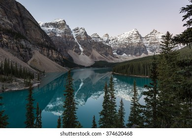 Scenery of Moraine Lake with high mountain, Banff National Park, Canada