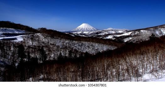 Scenery of Mt. Yotei from Nakayama Pass on the outskirts of Sapporo, Hokkaido