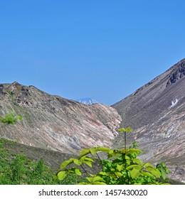 Scenery of Mt. Yotei seen from promenade of Mt. Usu at Hokkaido