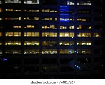 Scenery of night shift working hours seen at opposite building