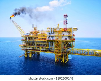 Scenery of oil and gas platform with gas burning, Power energy.Mobile photoghpy.